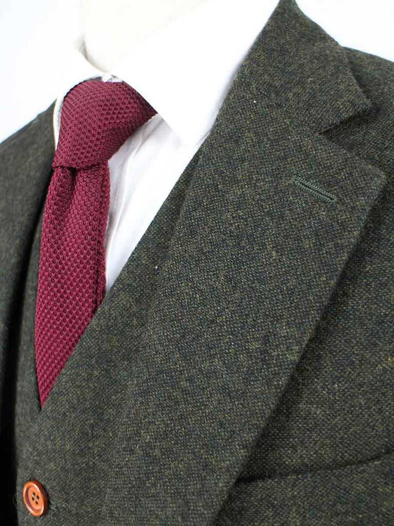 CLASSIC GREEN BARLEYCORN TWEED 3 PIECE SUIT - BDtailormade