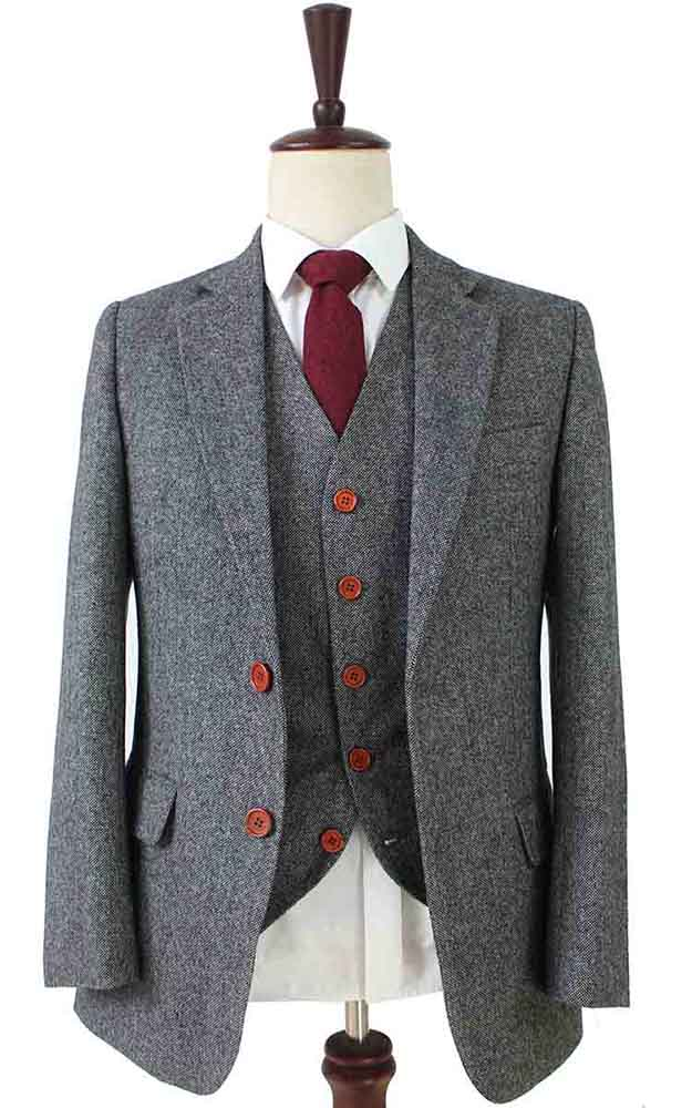 classic grey barelycorn tweed 3 piece suit