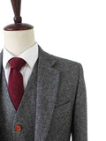 classic grey barelycorn tweed wedding suit