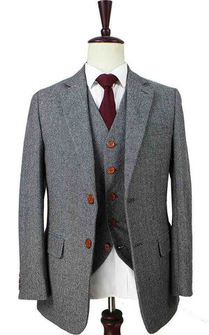 CLASSIC GREY HERRINGBONE TWEED 3 PIECE SUIT - BDtailormade