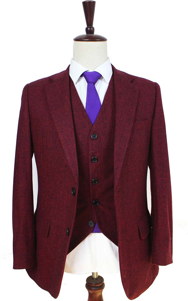 classic red barleycorn tweed 3 piece suit