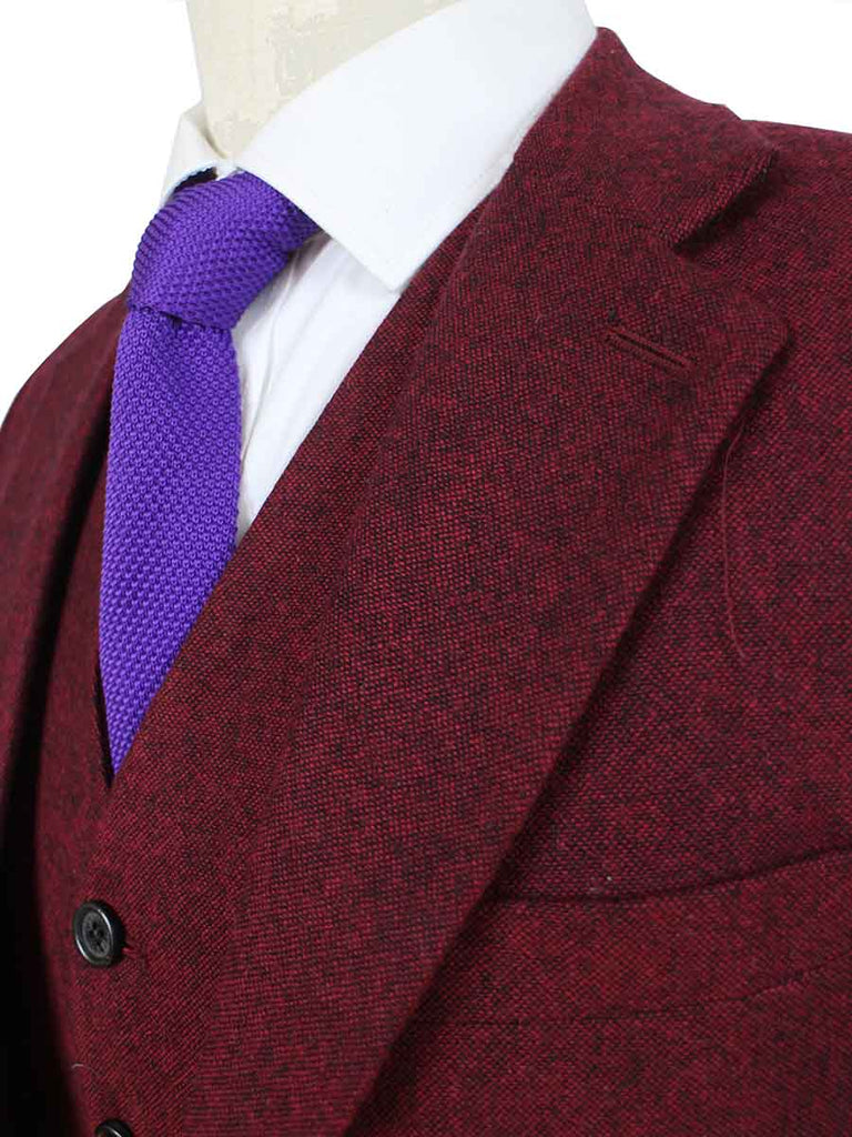 classic red barleycorn tweed suit