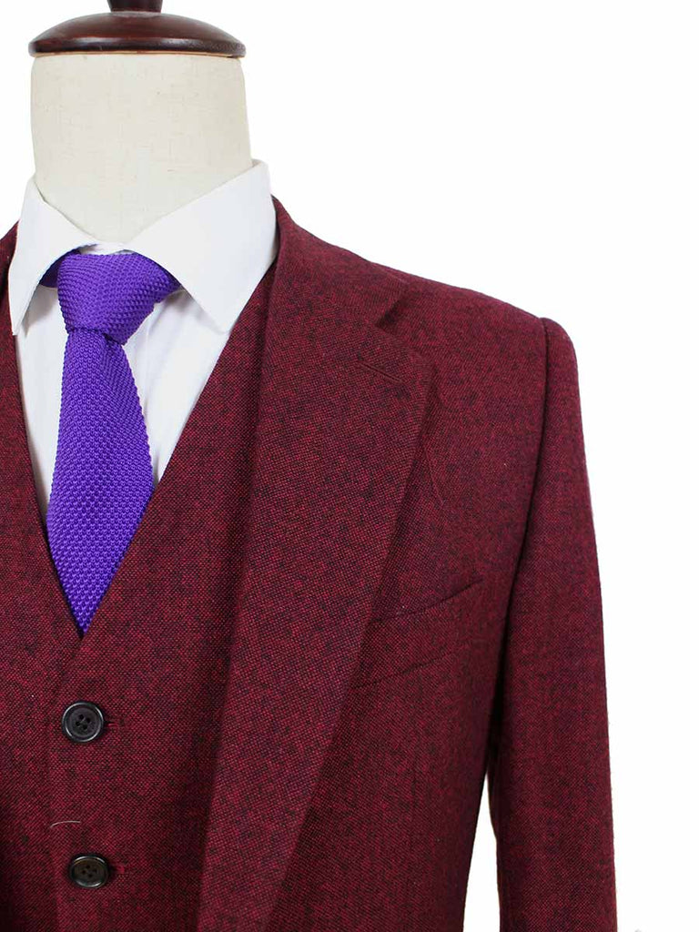 classic red barleycorn tweed 3 piece suits