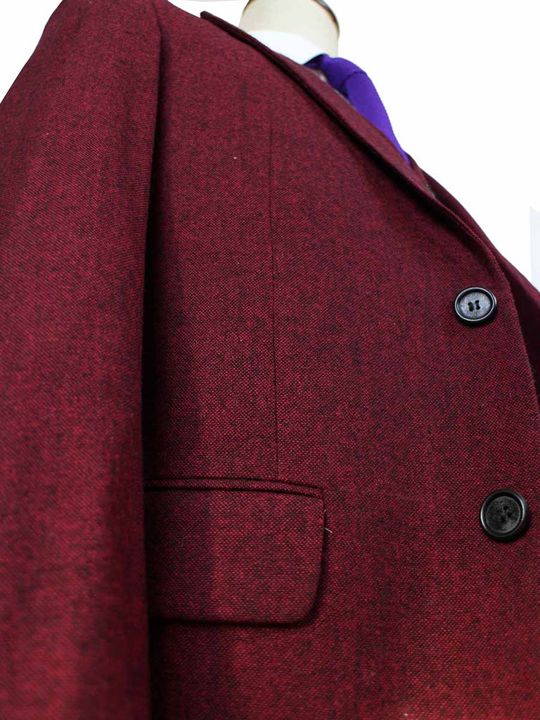 classic red barleycorn tweed suit 3 piece