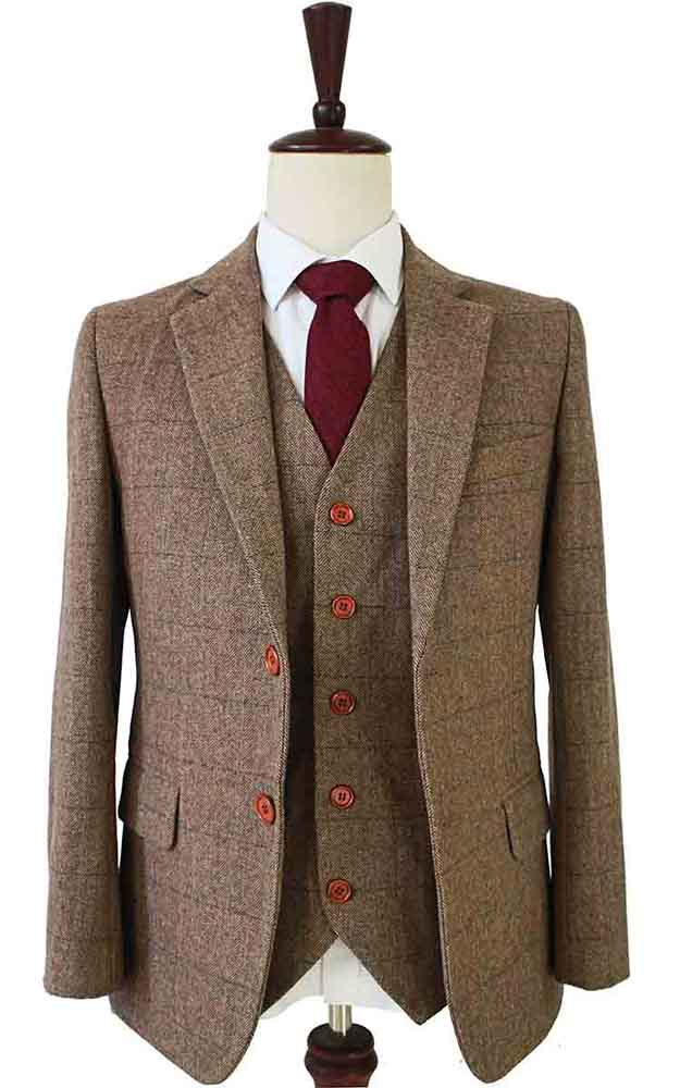 country herringbone tweed 3 piece suit
