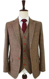 BROWN HERRINGBONE TWEED 3 PIECE SUIT