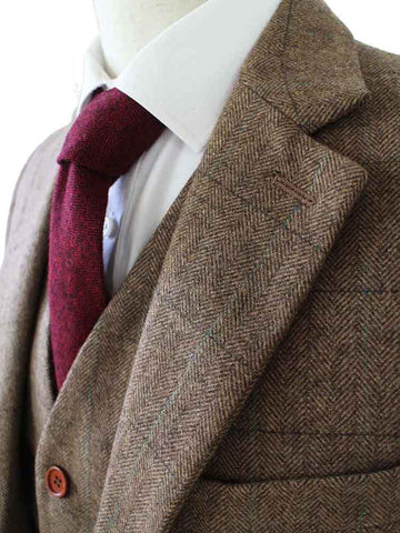 BROWN HERRINGBONE TWEED 3 PIECE SUIT - BDtailormade