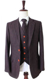 dark brown barleycorn tweed 3 piece suit