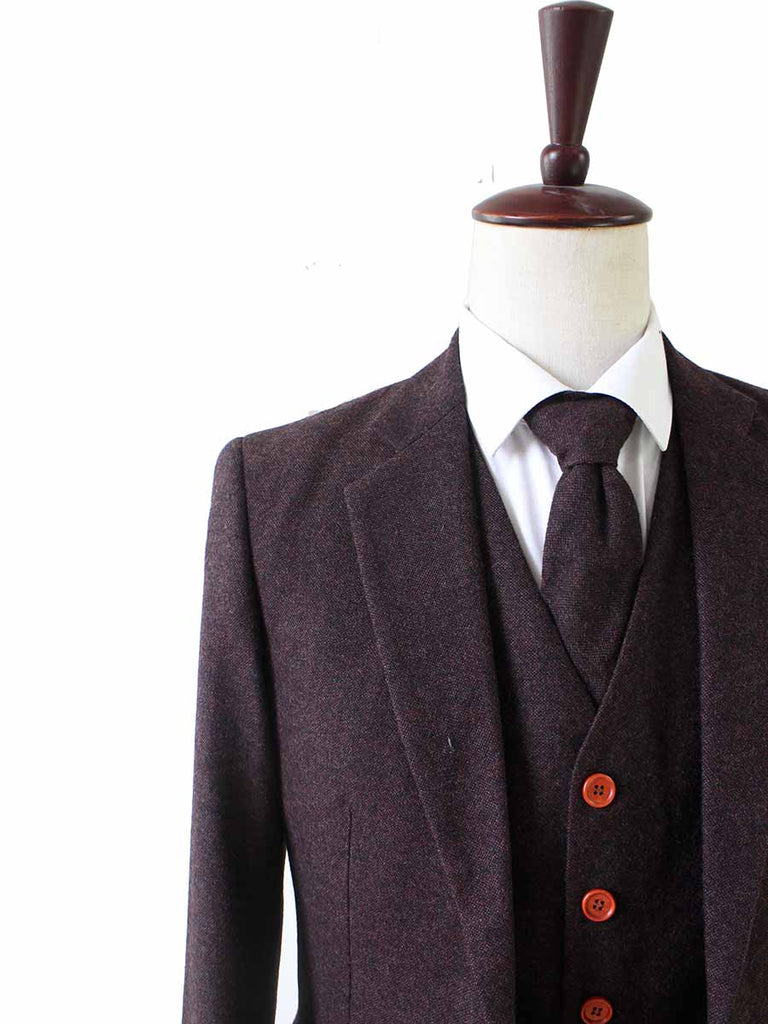 dark brown barleycorn tweed wedding suit