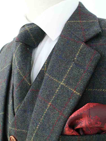 green overcheck plaid tweed suit