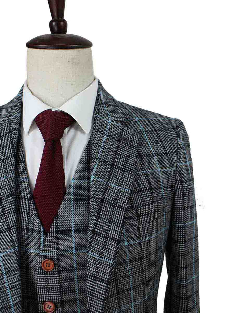 GREY BLUE HOUNDSTOOTH PLAID TWEED 3 PIECE SUIT - BDtailormade