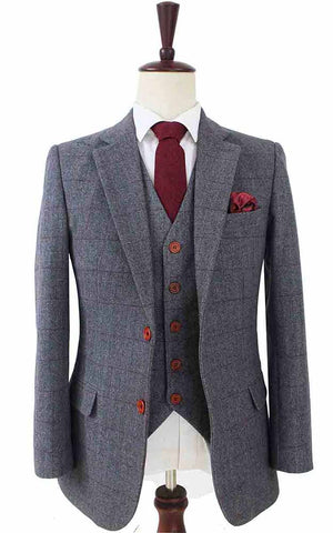 grey herringbone tweed 3 piece suit
