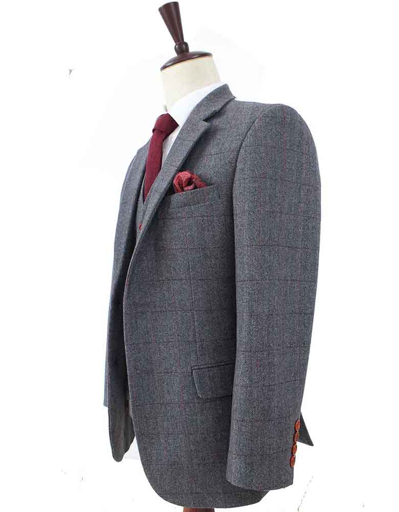 GREY HERRINGBONE TWEED 3 PIECE SUIT - BDtailormade