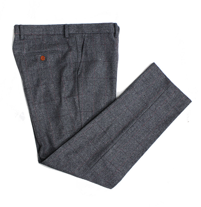 Grey Herringbone Tweed Trousers - BDtailormade