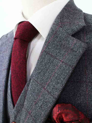 grey herringbone tweed suit 3 piece