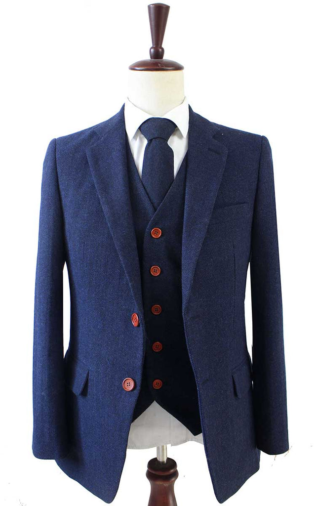 NAVY HERRINGBONE TWEED 3 PIECE SUIT - BDtailormade