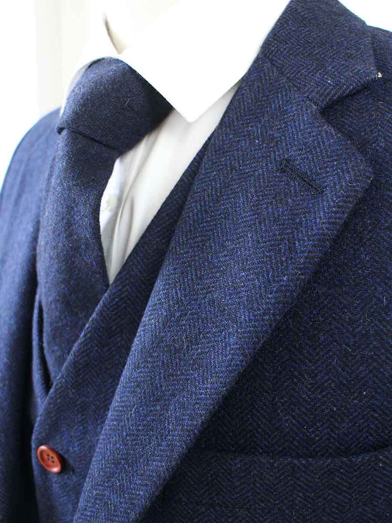 navy herringbone tweed suit