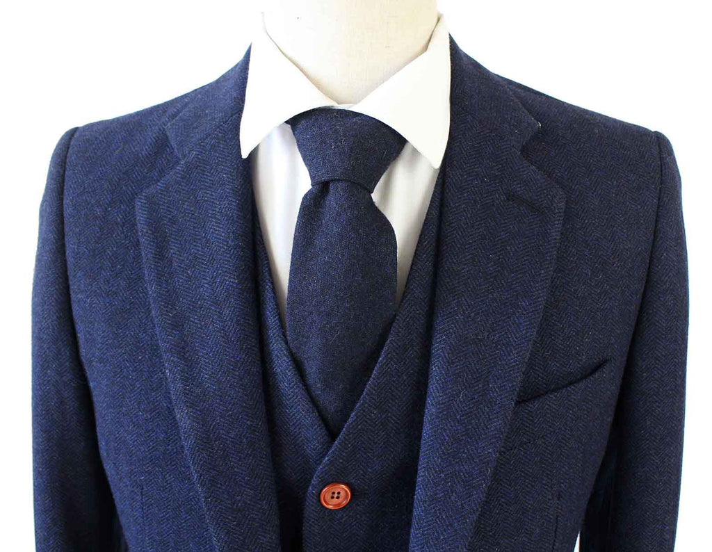 navy herringbone tweed wedding suit