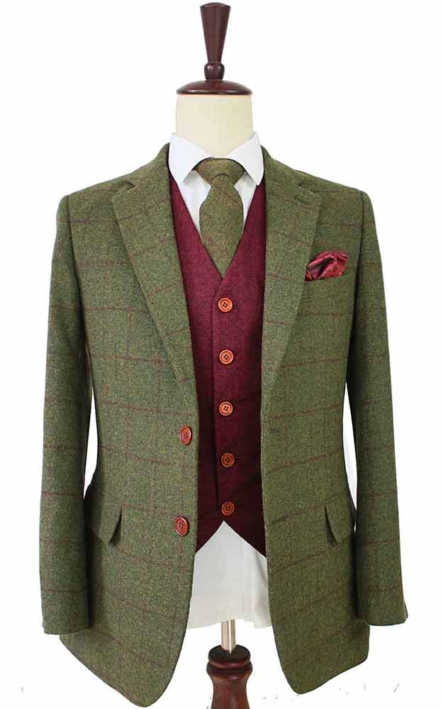olive green plaid tweed 3 piece suit