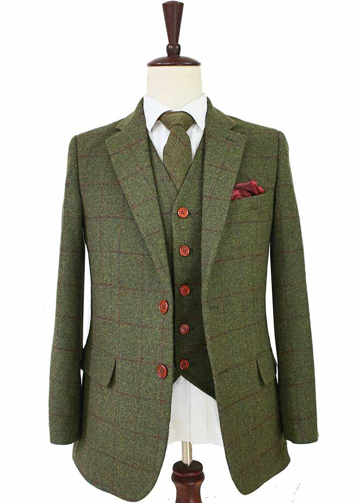 OLIVE GREEN PLAID TWEED 3 PIECE SUIT - BDtailormade