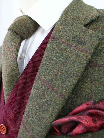 olive green plaid tweed jacket