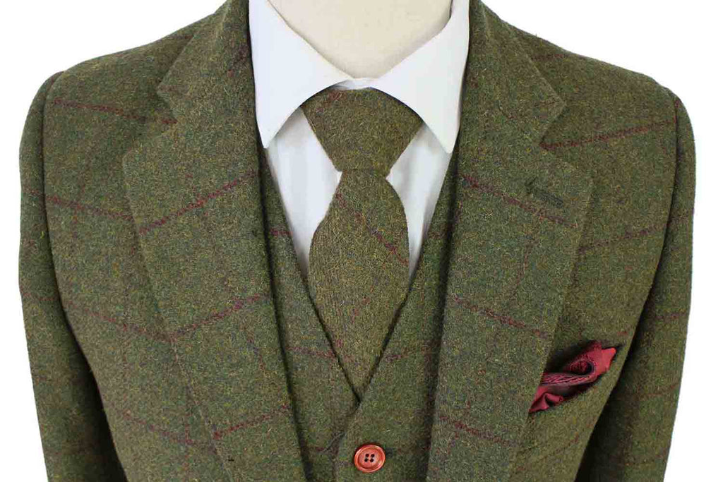 olive green plaid tweed suit 3 piece