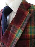 RAINBOW RED PLAID TWEED 3 PIECE SUIT - BDtailormade