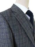 RETRO GREY BLUE PLAID TWEED 3 PIECE SUIT - BDtailormade