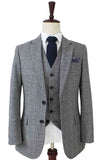 RETRO GREY PLAID TWEED 3 PIECE SUIT