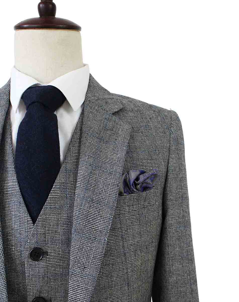 RETRO GREY PLAID TWEED 3 PIECE SUIT - BDtailormade