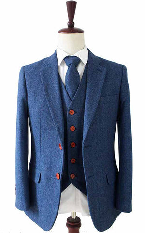 blue herringbone tweed 3 piece suits