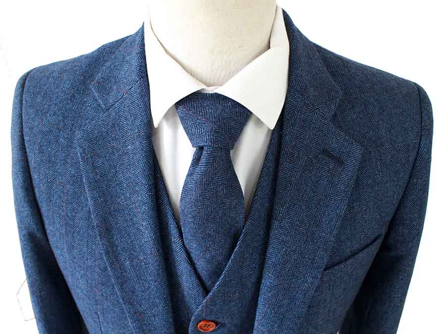 BLUE HERRINGBONE TWEED 2 PIECE SUIT - BDtailormade