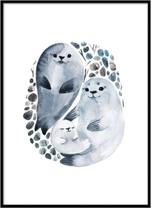 Sea lion family Poster