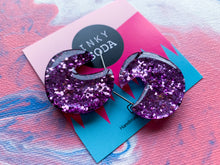 Load image into Gallery viewer, Lavender Glitter - Mini CALYPSO Hoops