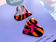 Load image into Gallery viewer, Sunkist Tiger - Heart Studs