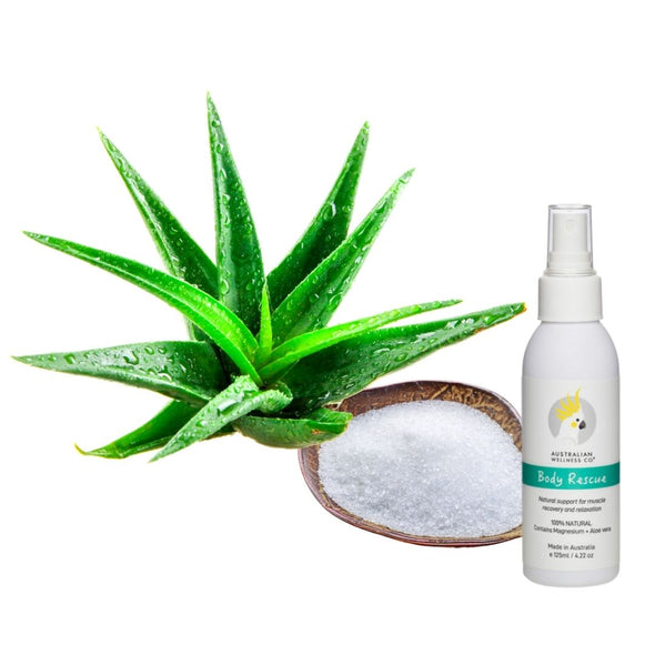 BODY RESCUE Relaxation Spray [Magnesium Oil + Organic Aloe Vera] 4.22oz/125ml.
