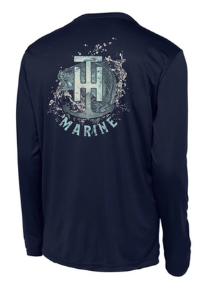 T-H Marine Bass Logo Navy Performance T-Shirt - Direct Fishing Sales