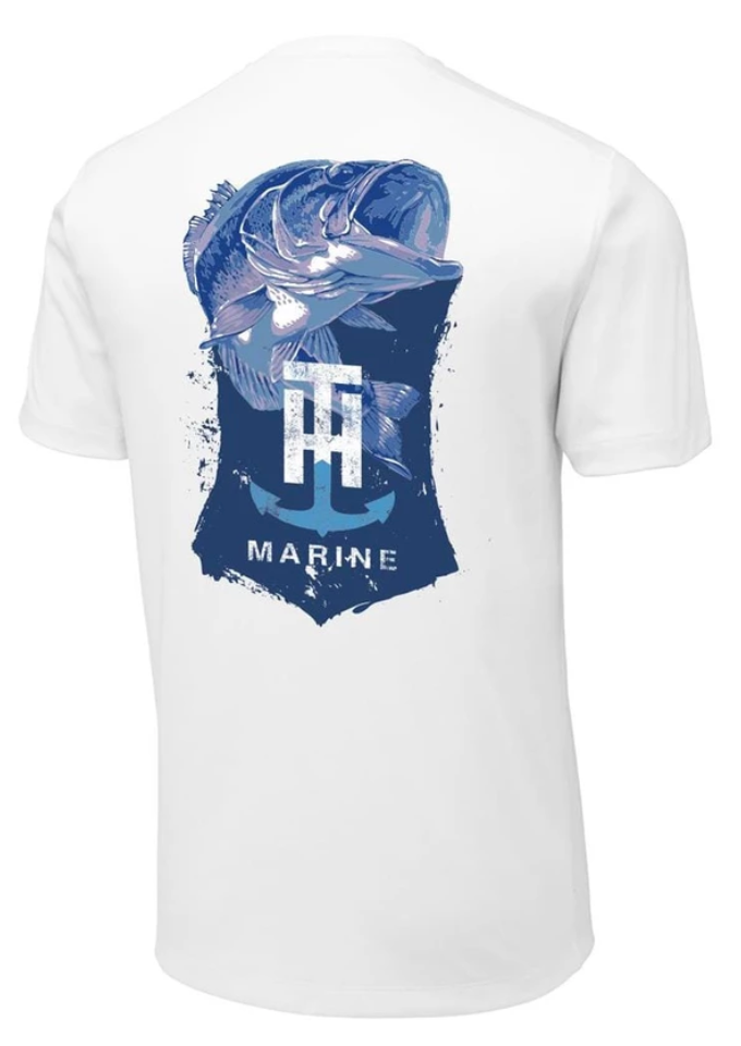 T-H Marine Blue Bass Logo White Performance T-Shirt - Direct Fishing Sales
