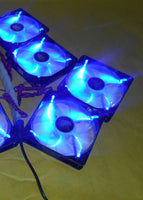 Lot of 4: NEW 120mm 4-pin Quad Blue-LED Computer PC Cooling Gaming Case Fan