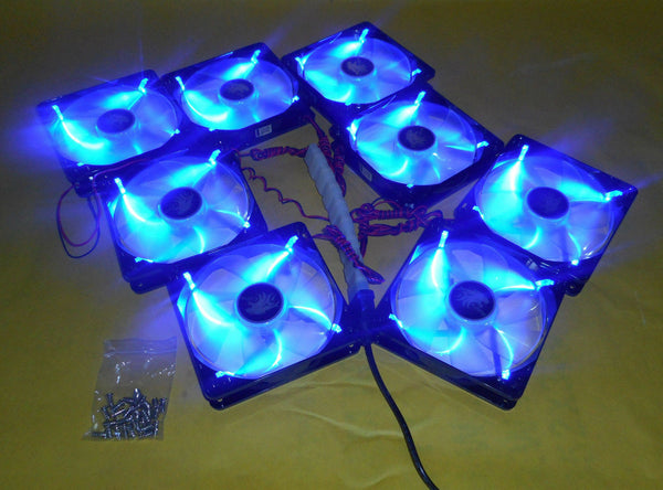 Lot 8: NEW 120mm Quad LED Cooling Fan Array Kit for Open Frame Mining Rig Case