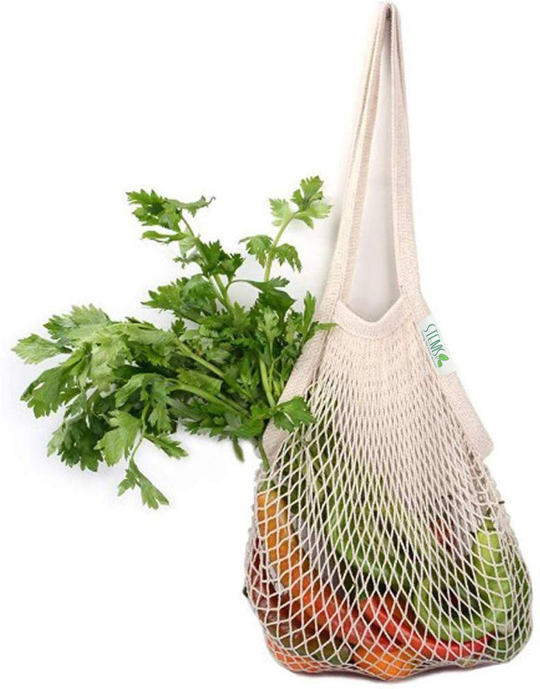 Double Stitched Long Handle Cotton Produce Bag - Eco-Friendly and Reusable Grocery Bag - 100% Premium Cotton - Saving The Earth Matters