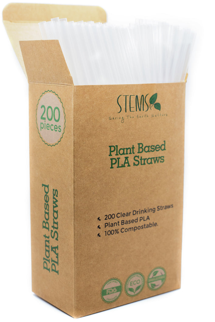 200 Clear Drinking Straws - 100% Compostable Plant Based PLA - Eco-Friendly and Biodegradable Alternative to Plastic Straws - Saving The Earth Matters