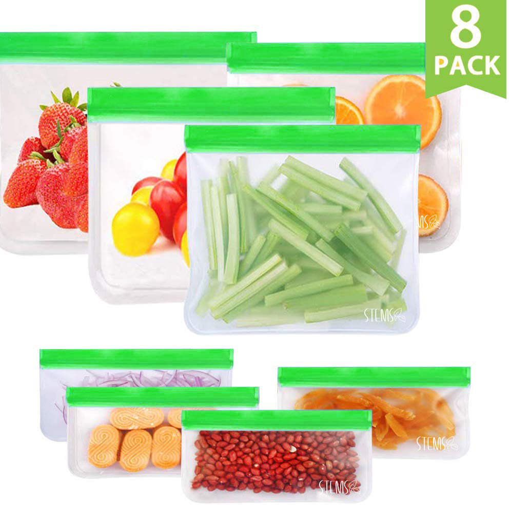 8 Pack - Reusable Food Safe Zip-Sealed Bags