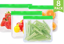 Load image into Gallery viewer, 8 Pack - Reusable Food Safe Zip-Sealed Bags