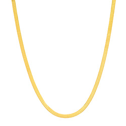 THIN HERRINGBONE CHAIN NECKLACE, GOLD