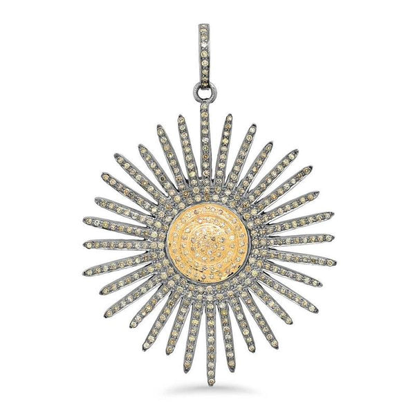 SUNBURST DIAMOND PENDANT, GOLD AND BR STERLING SILVER