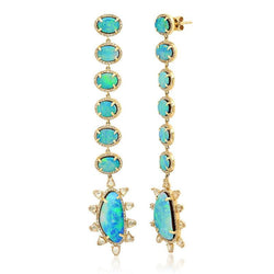 STUNNING OPAL & DIAMOND EARRINGS, GOLD