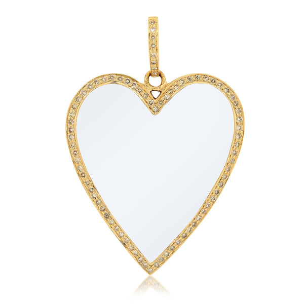WHITE ENAMEL HEART CHARM, GOLD