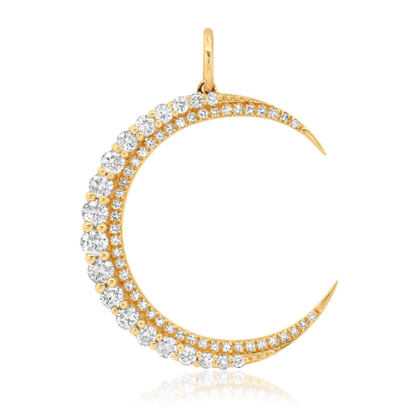 CLIMBING LARGE DIAMOND MOON CHARM, GOLD