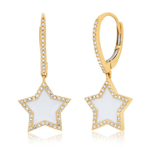 WHITE ENAMEL STAR BABY HOOPS, GOLD